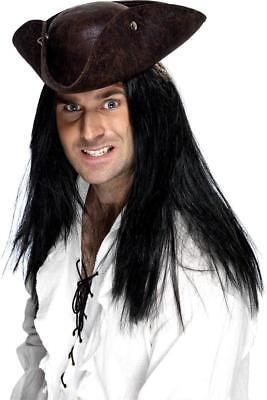 Pirate Brown Deluxe Tricorn Hat Fancy Dress costume accessory