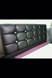 Brand New 4FT6 Double Black Headboard ( Diamond ) with Fast Free Delivery