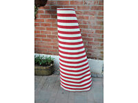 Ikea red and white stripey rug with a grey trim 133cm x 195cm