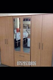Beech wardrobe with mirrors (assembled)