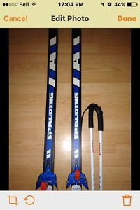 SPALDING CROSS COUNTRY SKIS AND POLES