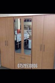 BEECH EFFCT WARDROBE WITH MIRRORS (ready assembled)