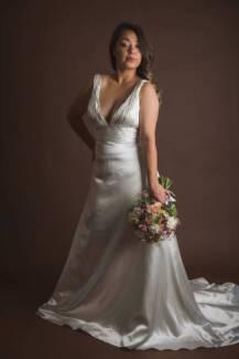 Ivory Satin A-LINE Wedding Dress