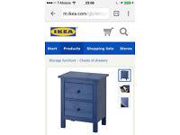 ikea blue bedside cabinet