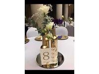 Gold Sprayed Bottles - Wedding Centrepieces
