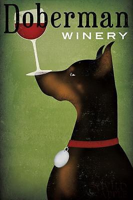 DOBERMANN WINERY DOG PINSCHER ART PRINT RETRO STYLE ADVERT POSTER - Red Wine