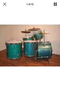 1960s premier green sparkle drum kit with premier cymbol stands