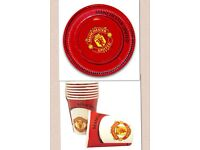 MANCHESTER UNITED party cups, plates, candles. £1 each. NEW