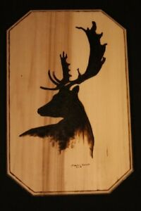 Woodburning deer wood pyrography wildlife