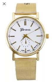 Geneva Watch Mens Womens Unisex White Face Gold Strap NEW