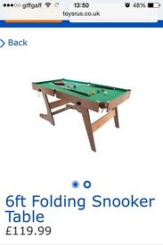 Folding pool/snooker table