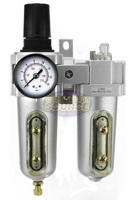 "3/4"" Compressed Air Moisture Filter Regulator Oiler Separator Lubricator Combo"