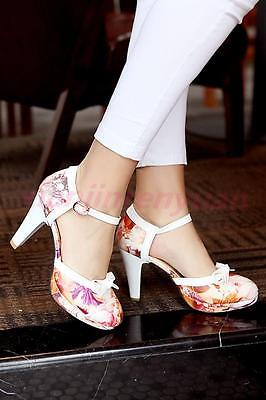Chic Womens Ankle Strap Bowknot Printed Sandals Floral High Heels Platform Shoes