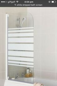 White striped shower screen still in box never been used