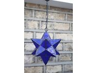 "NEXT Blue glass star pendant light fitting on chain. Approx 12"" deep"