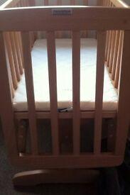 Mamas & Papas swinging crib, mattress & bedding set