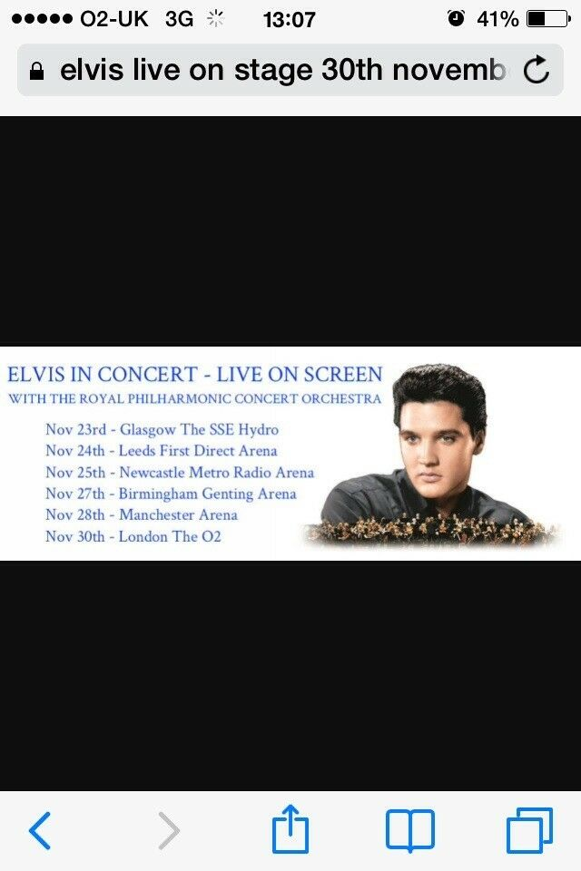 Elvis live on stage tickets x2 @02 arena london