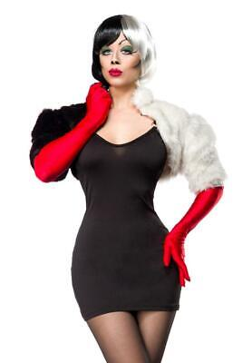 Cruella Deville Coat (CRUELLA DE VILLE FANCY DRESS OUTFIT FUR COAT MINIDRESS GLOVES SIZE 12/14)