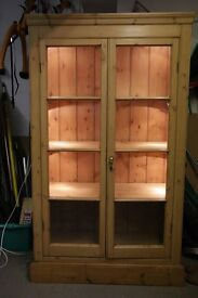 Antique solid pine lit cabinet