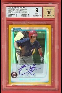 2011 BOWMAN CHROME GOLD REF BRYCE HARPER AUTO  50/50   BGS 9 WITH 10 AUTO