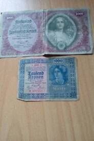 Old Budapest , Hungarian German bank notes ,