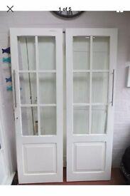 White interior french doors