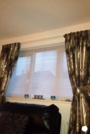 "Curtains tape tops lined approx 84"" drop slate grey selling two pairs separate modern style"
