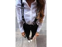 ladies logo suspenders fashion top!2018 style