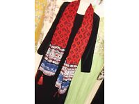 Red and Blue Scarf with Tassels - Zee.H.M Fashion