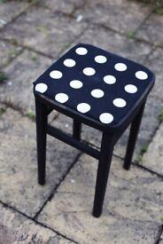 Vintage stool with polka dot top