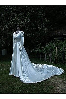 Vintage 1940's LOVELY Satin Lace WEDDING GOWN 32-24-62