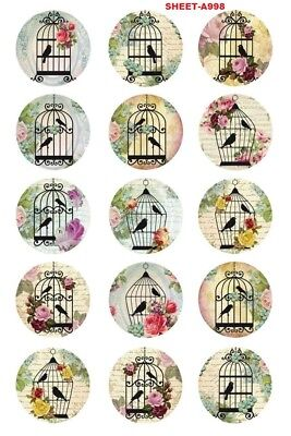 15 x Vintage Bird Cages Bottle Cap Logo Images for Necklaces, Magnets