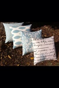 Set of FOUR Light Blue And Cream  Decorative Throw Pillow Covers 18x18 Inches