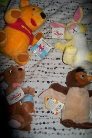 WINNIE THE POOH AND FRIENDS SOFT TOYS X 4 ALL BRAND NEW WITH TAGS