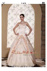 Brand new one shoulder champagne wedding gown/dress
