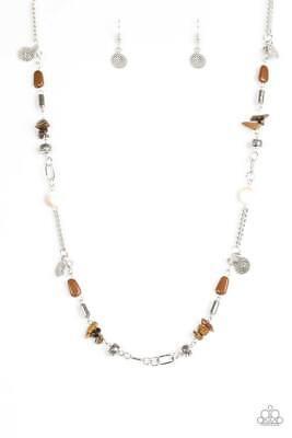 Paparazzi Long Necklace & Earrings Ocean Bliss Brown Rock Stones Silver  NWT