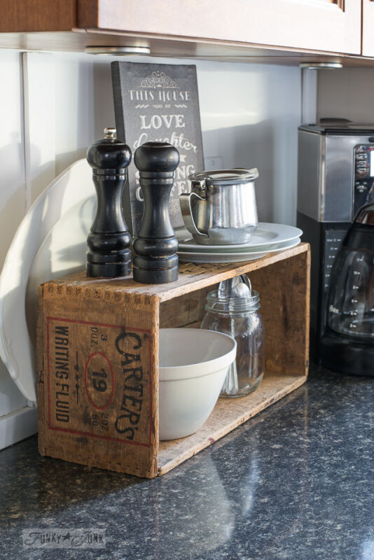 double up your space with a crate create a rustic farmhouse kitchen with these