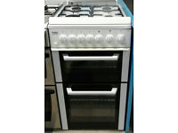 a691 white beko 50cm double oven gas cooker comes with warranty can be delivered or collected