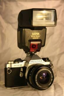 Pentax ME Super Film Camera + F2.8 28mm Lens + Sunpak Flash
