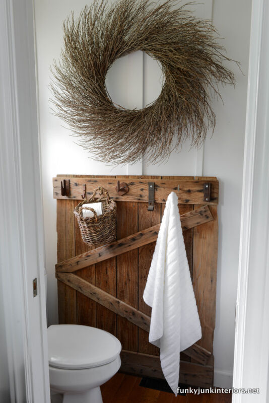 Old barn gate towel hanger part of upcycled storage ideas for your