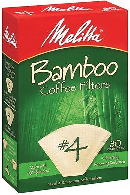 Melitta #4 Cone Bamboo Paper Filters, 80 Count](Bamboo Paper)