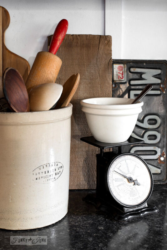 Add vintage accessories that function! / Create a rustic, farmhouse kitchen with these easy ideas! By Funky Junk Interiors for eBay