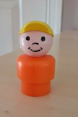 HTF Rare Vintage Fisher Price little people orange boy yellow cap for Zoo #916