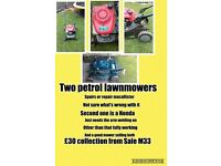 ***** TWO PETROL LAWNMOWER SPARE OR REPAIR *****