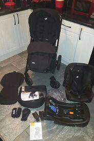 Joie chrome complete travel system, car seat, car seat base, colour pack, faces both ways in ex.con