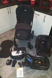 Joie chrome nearly new complete travel system, car seat & isofix base and extras, will sell or swap