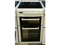 N224 white teknix 50cm double oven ceramic hob electric cooker comes with warranty can be delivered