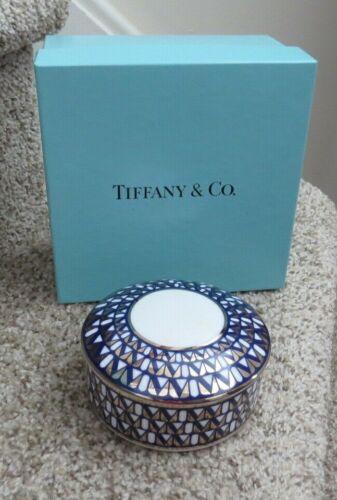 TIFFANY & CO MILLENNIUM PORCELAIN COVERED JAR TRINKET BOX IN ORIG TIFFANY  BOX