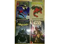 Batman, Spiderman, Lenore and star wars graphic novels