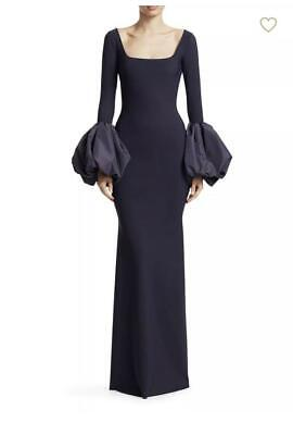 NEW Chiara Boni Ary Ruched Bell Sleeve Gown in Navy - Size 54 #DD14